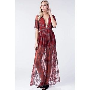 Wild Honey Plunging V Embroidered Lace Maxi Dress